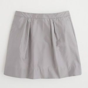 J. Crew Silver Silk Skirt with Tulle Lining